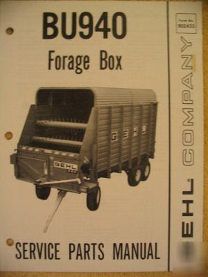 Gehl BU940 bu 940 forage box wagon parts catalog manual