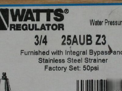 watts 3 4 25aub z3 water pressure reducing valve w stra. Black Bedroom Furniture Sets. Home Design Ideas