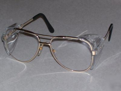Clear Lens Gold Frame Glasses : Aviator gold frame clear lens safety glasses